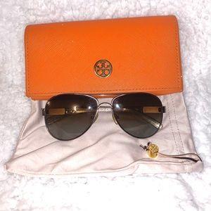 Tory Burch Snake Print Sunglasses with Orange Case